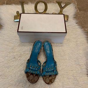 Coach Candice Stud Kitten Sandal Heels Turquoise